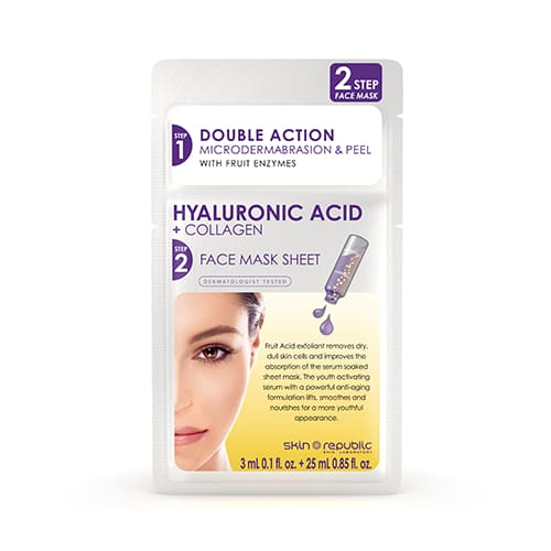 Skin Republic 2 Step Hyaluronic Acid + Collagen Face Mask - Skincare