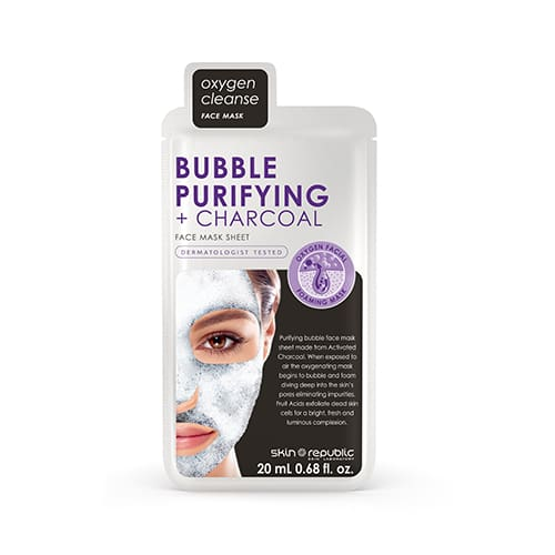 Skin Republic Bubble Purifying + Charcoal Face Mask Sheet - Skincare