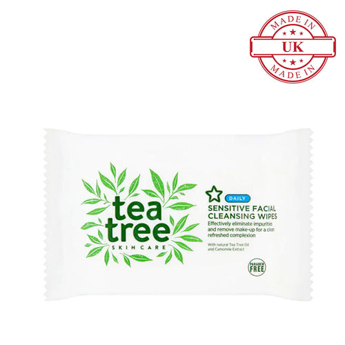 Superdrug Tea Tree Sensitive Facial Cleansing Wipes  X25