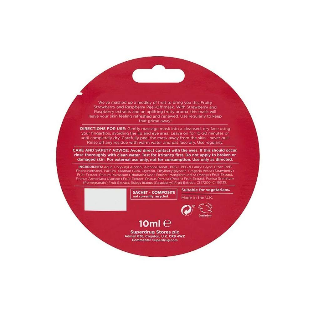 Superdrug Fruity Strawberry and Raspberry Peel-off Face Mask 10ml