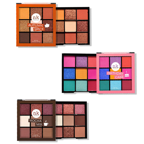 Nicka K Nine Color Eyeshadow Palette Set of 3 Pcs