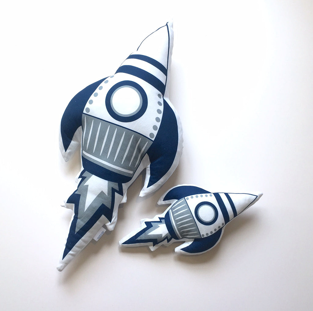 Mini Navy Space Rocket Plushie