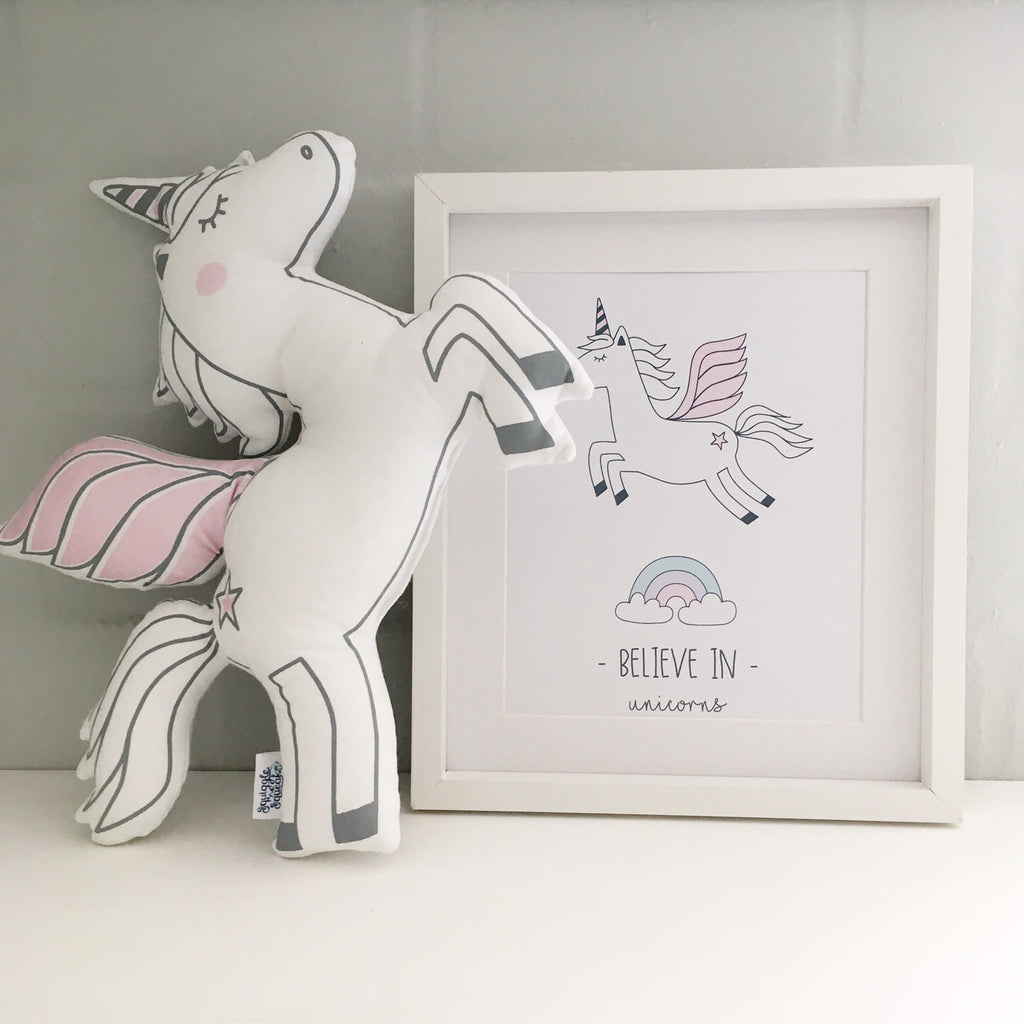 Believe in Unicorns poster - white