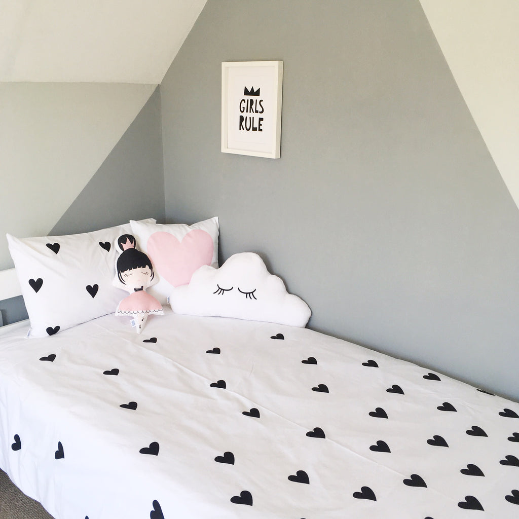 Heart Duvet Set - Monochrome
