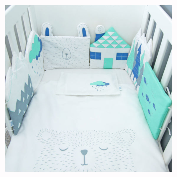 Cot Duvet & Pillowcase only - Mint Water Bear