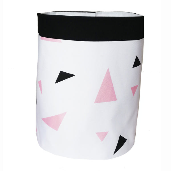 Metallic Pink & Black Triangles Storage Bag