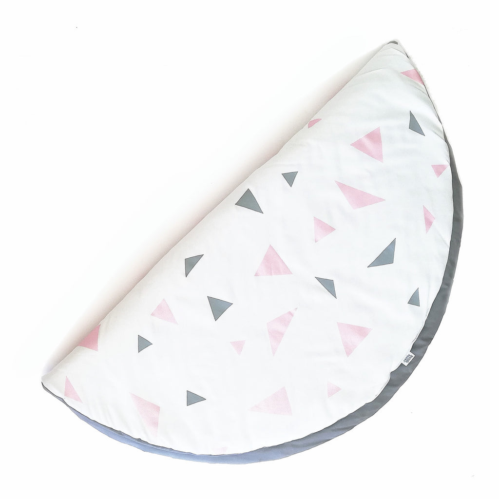 Metallic Pink & Grey Triangle Playmat
