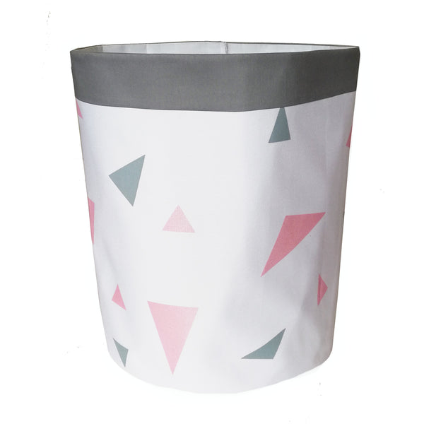 Metallic Pink & Grey Triangles Storage Bag