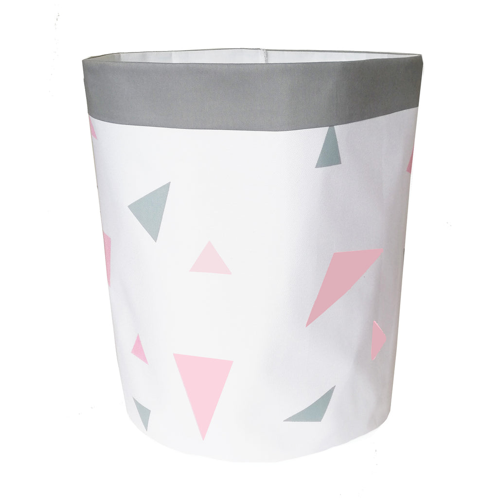 Pastel Coral Pink & Grey Triangles Storage Bag