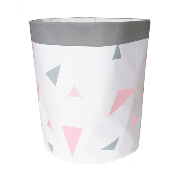 Pastel Pink & Grey Triangles Storage Bag