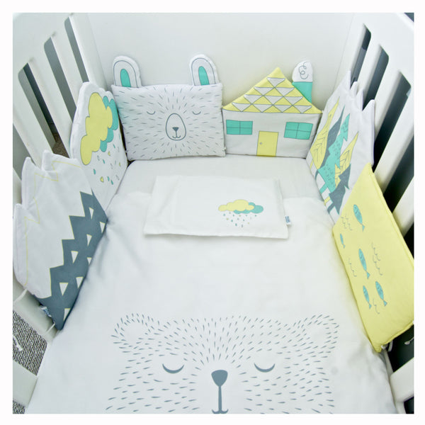 Cot Duvet & Bumper Set - Lemon Yellow Water Bear