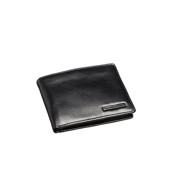 Geoffrey Beene Black Genuine Leather Passcase Billfold Wallet with Flip ID Window