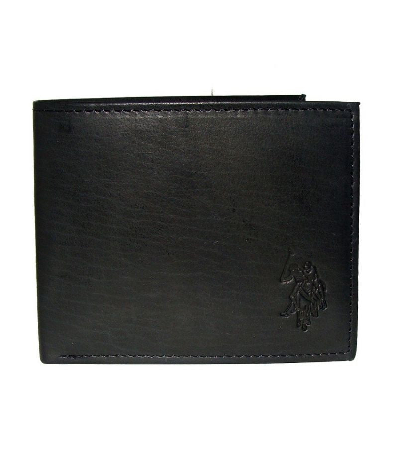 U.S Polo Assn. Black Genuine Leather Passcase Billfold Wallet with Flip ID Window