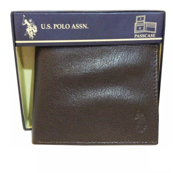 U.S Polo Assn. Brown Genuine Leather Passcase Billfold Wallet with Flip ID Window