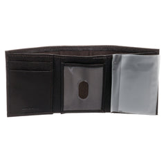 U.S Polo Assn. Dark Brown Genuine Leather Trifold Wallet