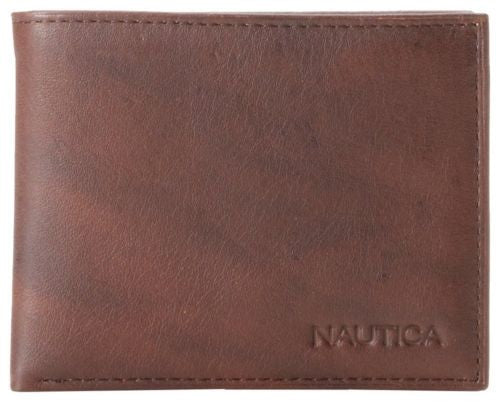 Nautica Brown Leather Passcase Wallet