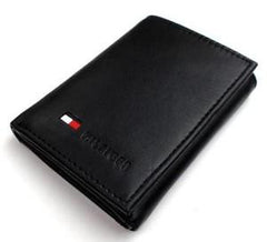 Tommy Hilfiger Black Leather Billfold Wallet with ID Window
