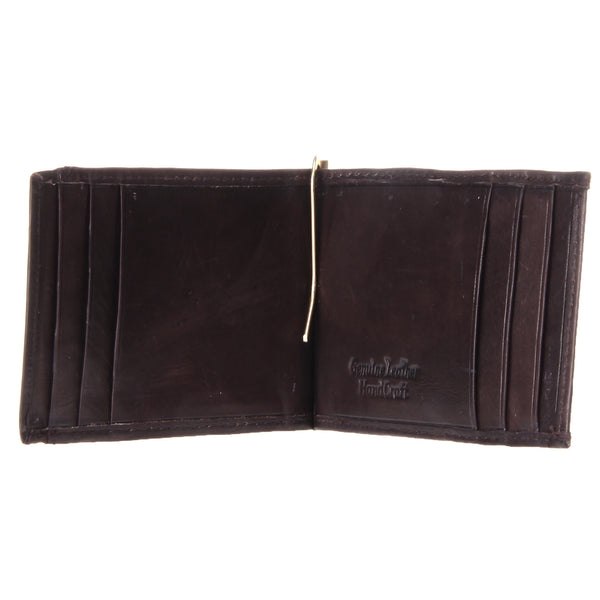 Paul & Taylor Dark Brown Leather Slim Bifold Wallet