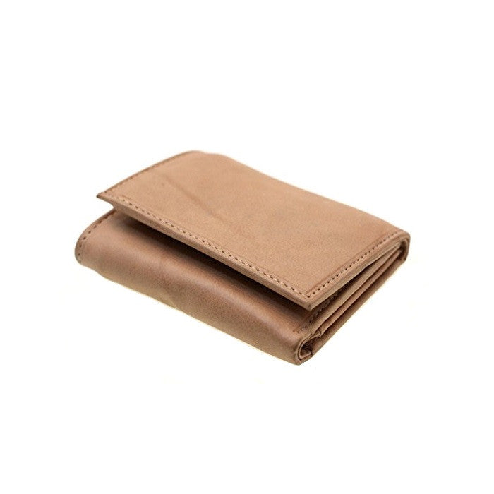 Paul & Taylor Tan Genuine Leather Extra Capacity Tri-Fold Wallet with Center ID Window