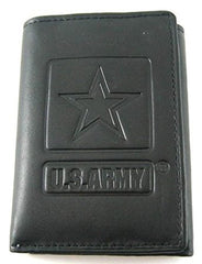 US Armed Forces Army Black Leather Trifold Wallet