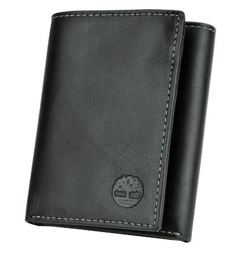 Timberland Black Leather Trifold Wallet
