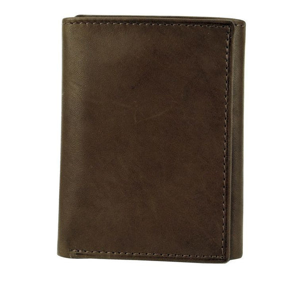 Joseph Abboud Dark Brown Antique Leather Trifold Wallet