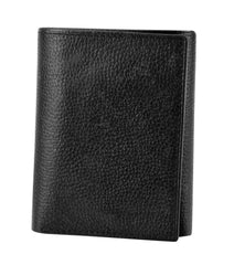 Joseph Abboud Black Pebble Grain Leather Pebble Grain Leather Trifold Wallet