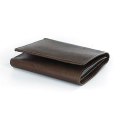 Joseph Abboud Brown Genuine Leather Tri-Fold Wallet with ID Window