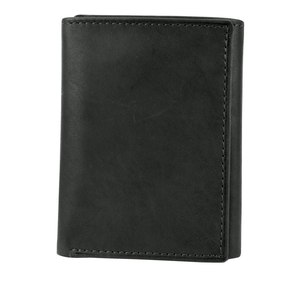 Joseph Abboud Black Antique Leather Antique Leather Trifold Wallet