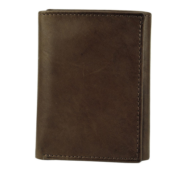 Joseph Abboud Dark Brown Antique Leather Antique Leather Trifold Wallet