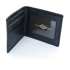 Joseph Abboud Black Genuine Leather Slim-Fold Wallet with ID Window