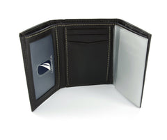 Nautica Dark Brown Trifold Wallet with ID Window
