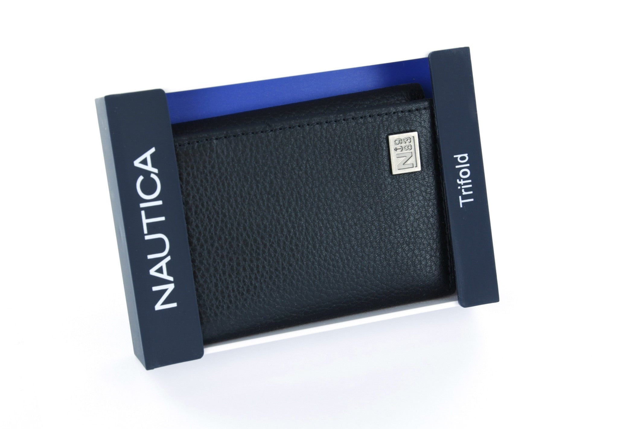 nautica black leather trifold wallet with id window walletoutlet