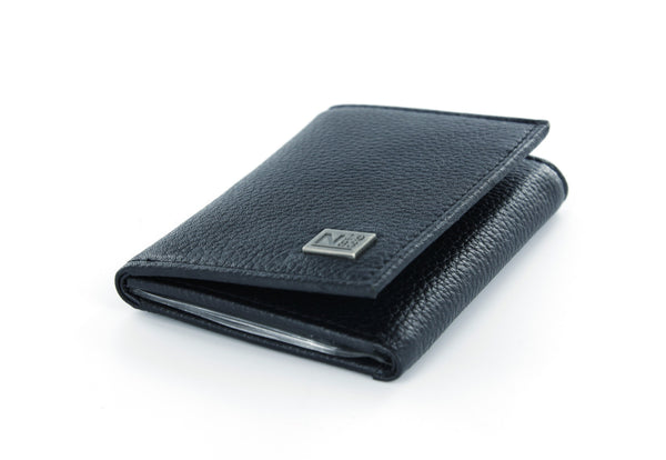 Nautica Black Leather Trifold Wallet with ID Window