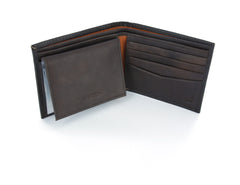 Nautica Brown Leather Passcase Wallet with Flip ID Window