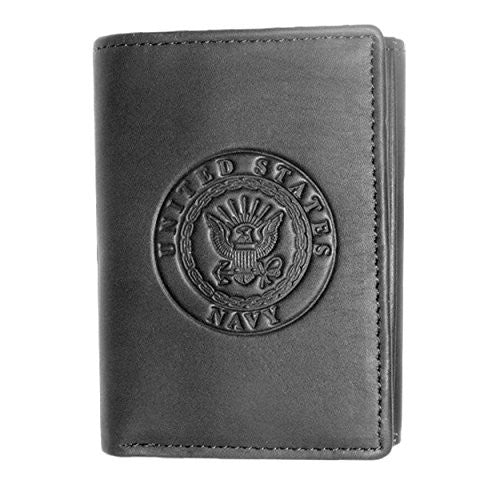 US Armed Forces Navy Black Leather Trifold Wallet
