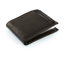 Paul & Taylor Brown Genuine Leather Extra Capacity Bi-Fold Wallet with ID Window