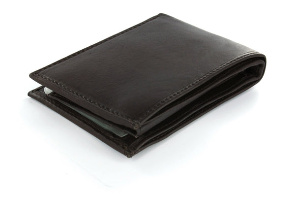 Paul & Taylor Brown Genuine Leather Extra Capacity Bi-Fold Wallet with Flip ID Window
