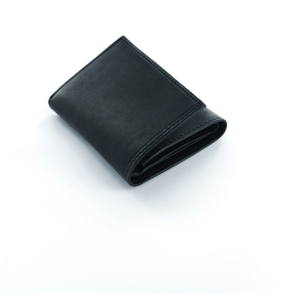 Paul & Taylor Black Genuine Leather Extra Capacity Tri-Fold Wallet with Center ID Window