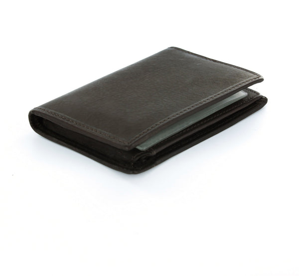Paul & Taylor Brown Genuine Leather Bi-Fold Wallet with Flip ID Window