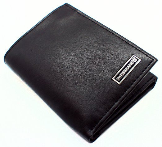 Swiss Brand Black Leather Bifold Wallet