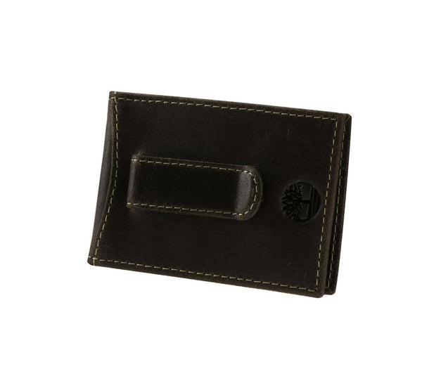 Timberland Brown Genuine Leather Delta Flip Clip Wallet