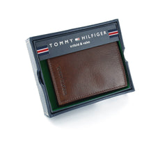 Tommy Hilfiger Tan Genuine Leather Trifold Wallet with ID Window