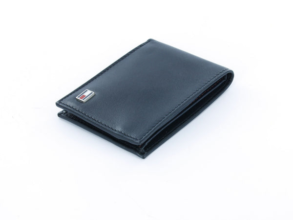 Tommy Hilfiger Black Genuine Leather Slim Billfold Wallet with ID Window