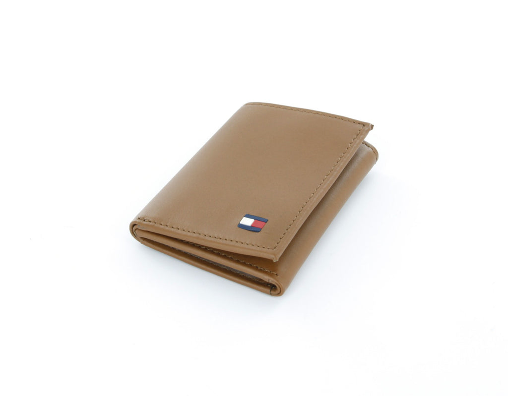Tommy Hilfiger British Tan Genuine Leather Trifold Wallet with ID Window