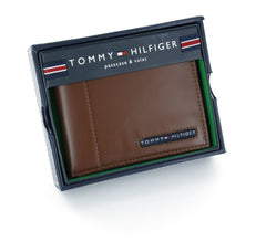 Tommy Hilfiger Tan Genuine Leather Passcase Wallet with Flip ID Window
