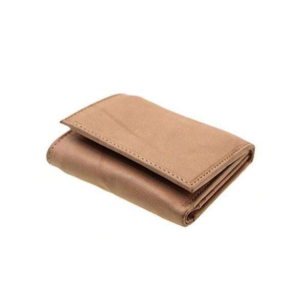 Paul & Taylor Tan Leather Trifold Wallet with Flip ID Window