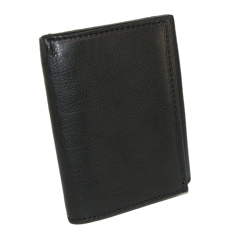 Paul & Taylor Black Genuine Leather Trifold Wallet with Flip ID Window