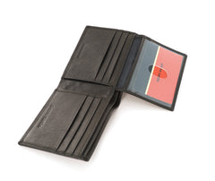 Pierre Cardin Dark Brown Leather Billfold Wallet with Flip ID Window