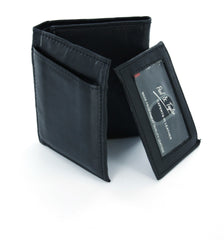 Paul & Taylor Black Genuine Leather Tri-Fold Wallet with ID Window